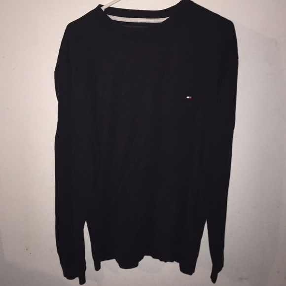 f8561890 Tommy Hilfiger Shirts | Black Log Sleeve Shirt | Poshmark